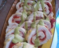 Rollitos de pollo con salsa de Guisantes
