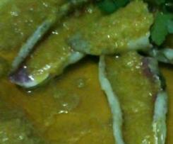 salmonetes en salsa de gambas (para dos personas)