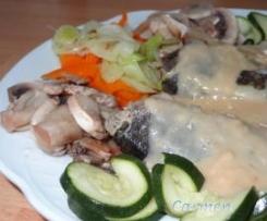 Lubina en salsa bercy con verduras al vapor