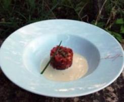 Tartar de atún rojo y sopa de almendras (Receta del cheff)
